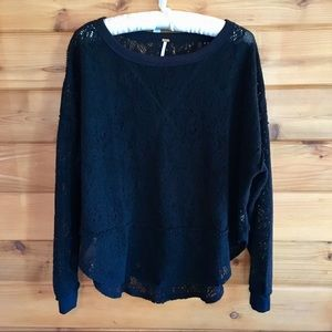 Free People Black Pullover Sweater Size XS